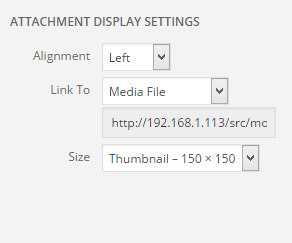Add Media Attachment Settings